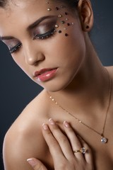 Glittering makeup and jewelry