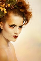 Beauty portrait woman in autumn makeup