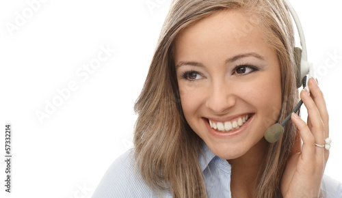 Closeup portrait of smiling dispatcher