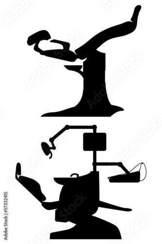 gynecological and dental chair black vector illustration
