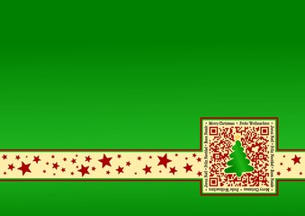 International Christmas-Card with QR Code - Green