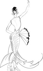 Sketch of flamenco dancer with fan