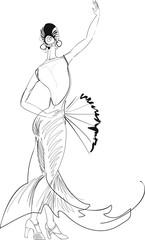 Sketch of flamenco dancer with fan