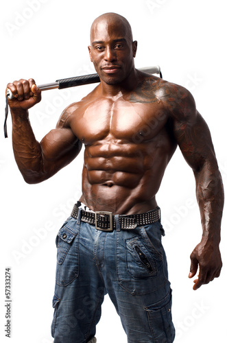 Black bodybuilder training with a bendy bar