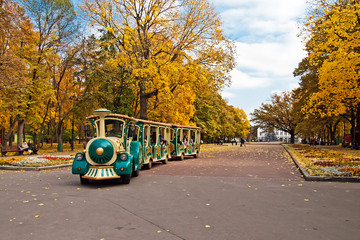 Central alley of autumn park in Kharkiv, Ukraine
