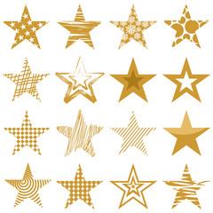 Set mit 16 goldenen Sternen