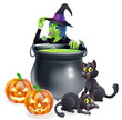 Witch Cartoon Halloween Scene