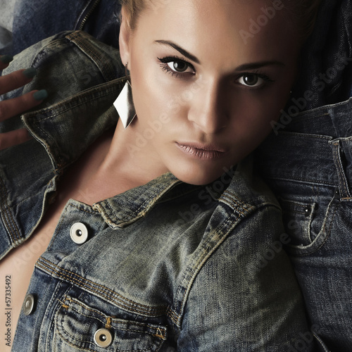 Fashion beautiful girl. denim jeans wear. beauty woman