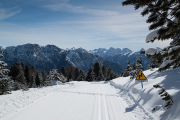 Crosscountry track in Dolomites