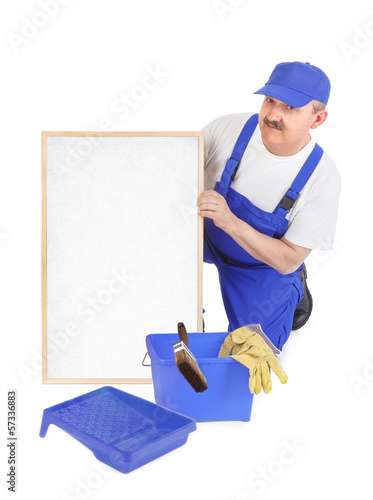 House painter and empty white board