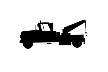 tow truck in silhouette