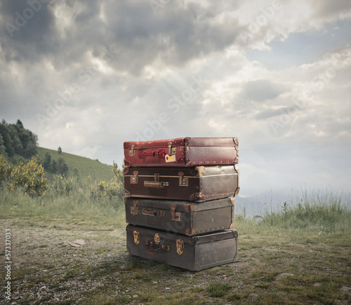 abandoned suitcases