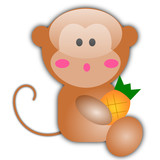 Vector illustration of little monkey