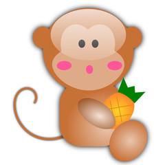 Vector illustration of little monkey