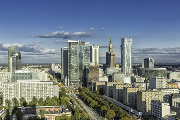 Warsaw downtown aerial view