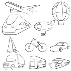 sketched transportation set, icons