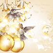Christmas background with baubles and birds