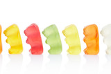 Gummy bears, queue concept on white, clipping path