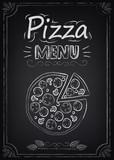Fototapety Pizza. Menu on the chalkboard