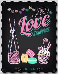 Love. Menu on the chalkboard