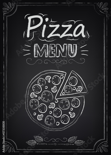 Fototapeta Pizza. Menu on the chalkboard