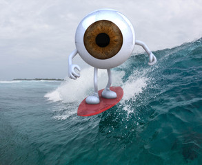 eyeball with arms and legs surfing on the sea