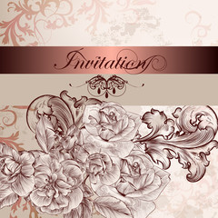 Wedding invitation card with flowers for design