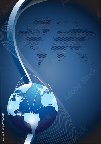 business globe network over a wave illustration