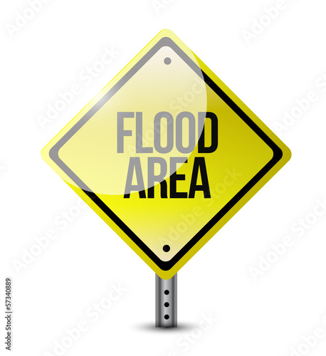 flood area road sign illustration design