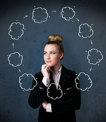 Young woman thinking with cloud circulation around her head