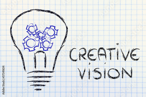 gearwheels inside lightbulb,creative business vision