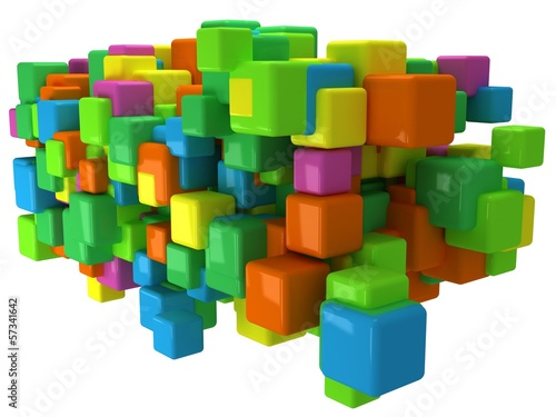Abstract 3D background with colored cubes