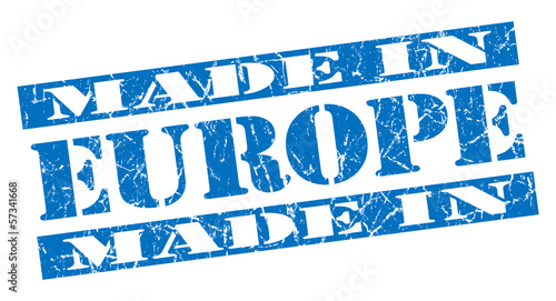 made in Europe grunge blue stencil font sign