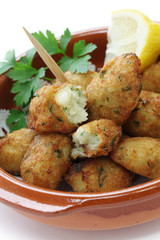 salt cod (bacalhau,bacalao) fritters, croquettes
