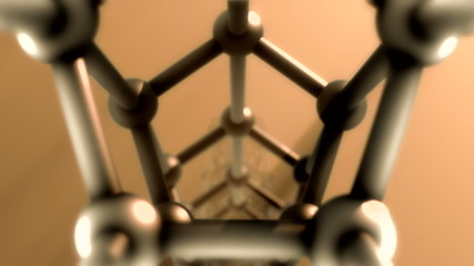 rendered silver glossy molecules structure  repeatly move