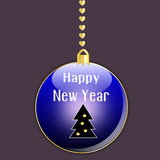 Blue ball of happy new year isolated on grey