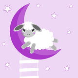 Sweet dreams background with baby sheep