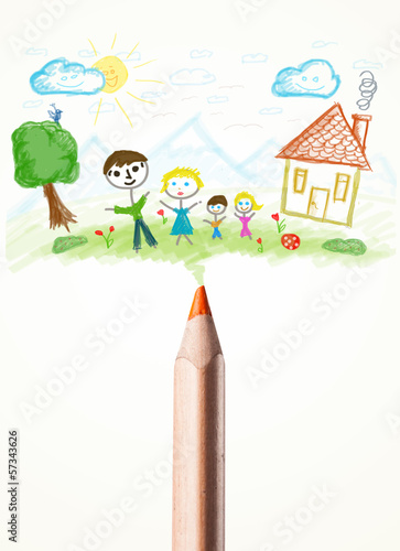 Pencil close-up with a drawing of a family