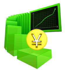 positive business results of yuan or yen vector