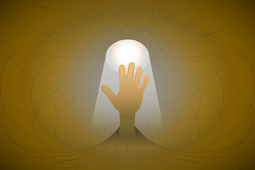 heavenly space with light beam highlights hand vector