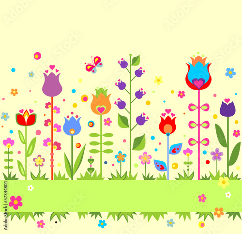 Seamless abstract border with colorful tulip