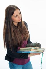 Mädchen mit Schulbüchern