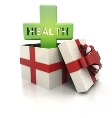 mysterious magic gift with green health cross render