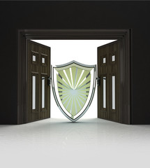 security and defence shield in doorway space