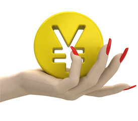isolated gold yen or yuan coin in women hand render