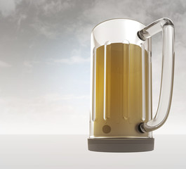 full glass of tasty bier with sky background render