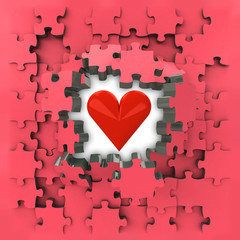 red puzzle jigsaw with heart love revelation