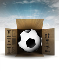football ball in package delivery with sky flare