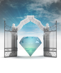 divine diamond in heavenly gate with sky flare
