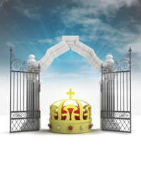 divine royal crown in heavenly gate with sky flare